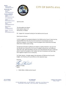 Letter of Support - California Arts Council - Mayor of Santa Ana